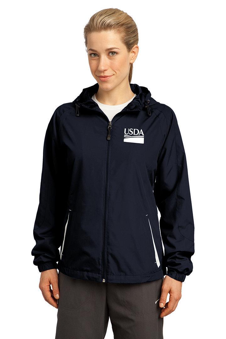 Ladies Colorblock Hooded Raglan Jacket  Custom Embroidery Available