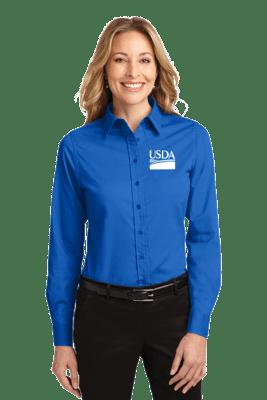 Ladies Long Sleeve Dress Shirt  Custom Embroidery Available