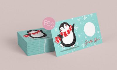 Holiday penguin scratch off card