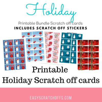 Holiday Scratch off Card Printable Bundle with stickers