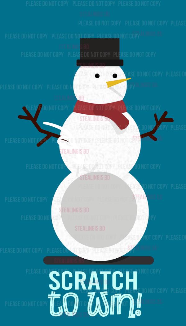 Winter snowman Appreciation Scratch off card