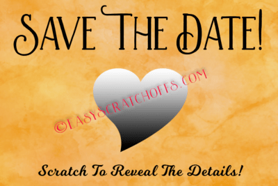 Save the Date Scratch Off Heart with free printable scratch off template, set of 4