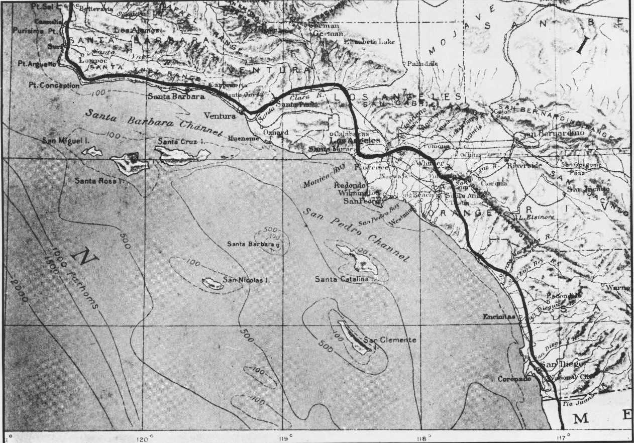 A Map Of Gaspar De Portola S Route From Sango To San Luis Obispo In Projected On A