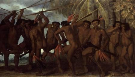 """""""Tapuya men of North Eastern Brazil in war dance"""" Albert van der Eeckhout"""
