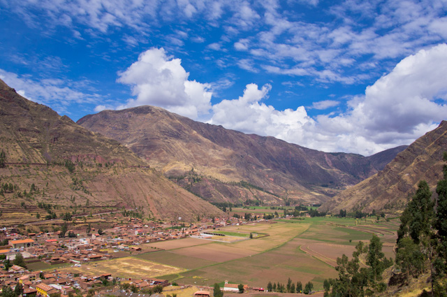View of the sacred Valley in Pisac, Peru