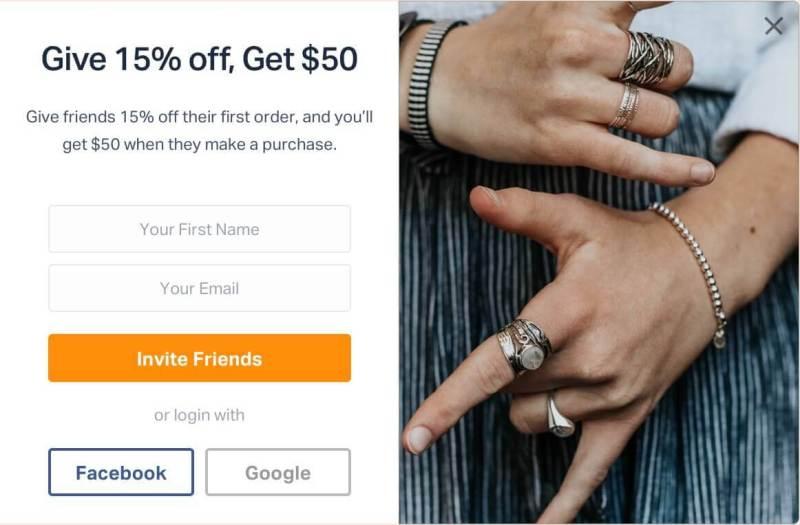 Screen-popup - referral marketing