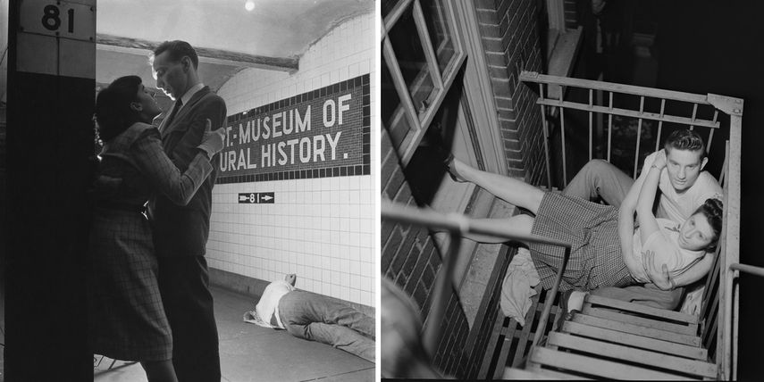 Stanley Kubrick, left - From Life and Love on the New York City Subway, 1947, right - From Park Benches, Love is Everywhere, 1946