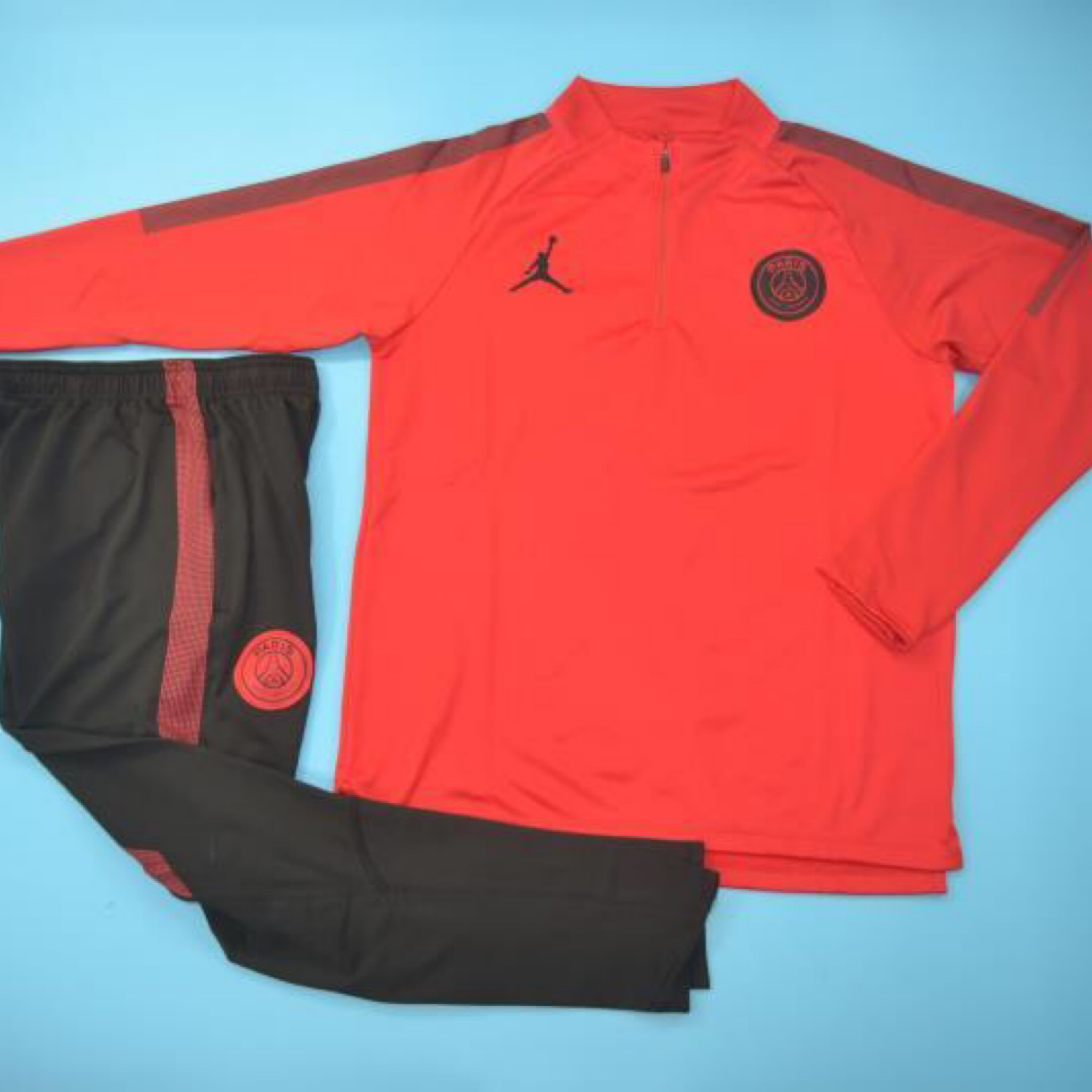shipping psg jordan red tracksuit