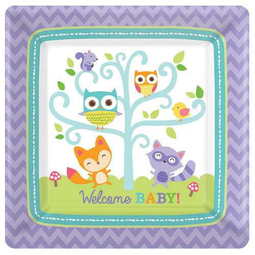 Forest creatures baby shower Dessert Plates