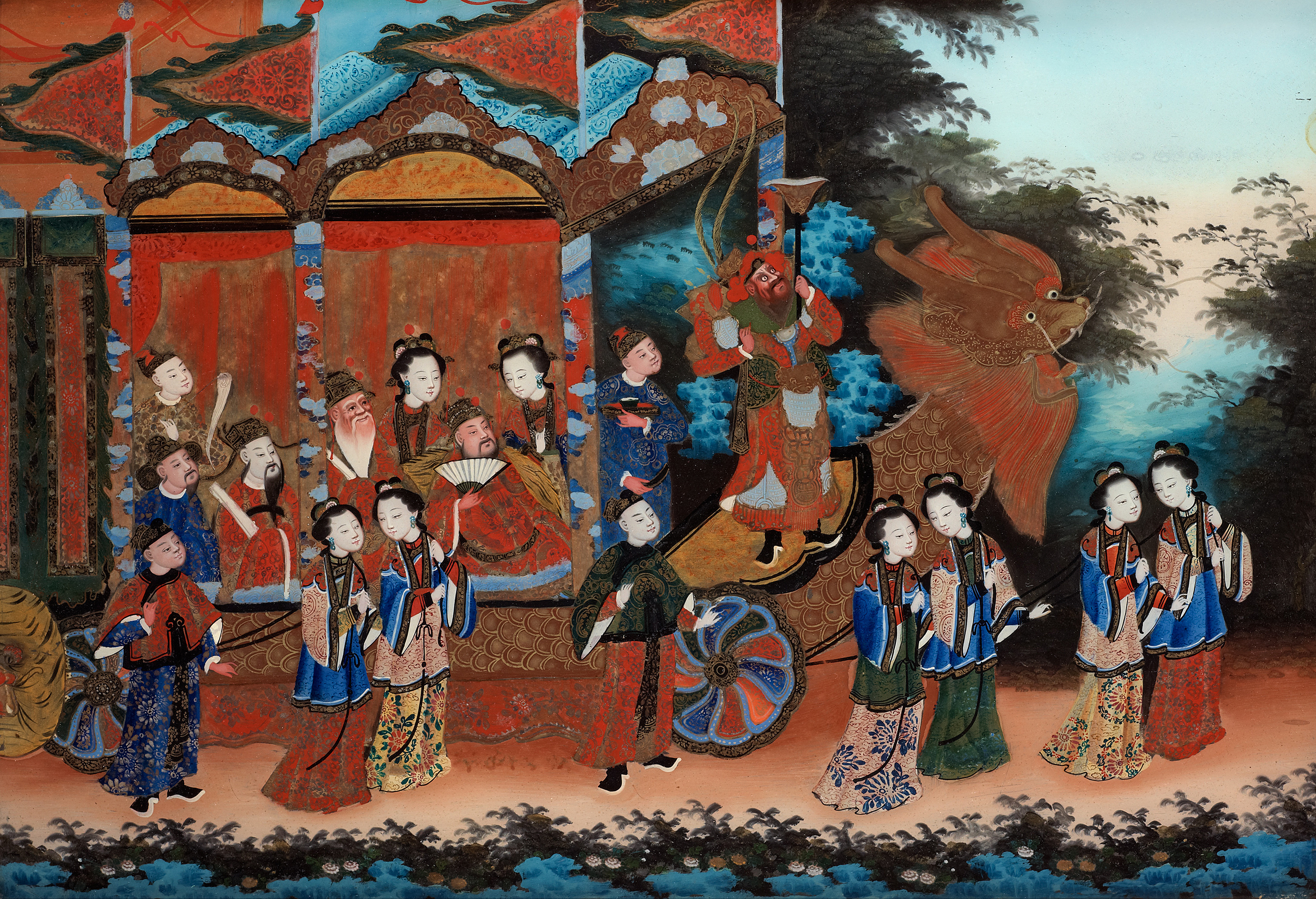 A Reverse Glass Painting Qing Dynasty 19th Century