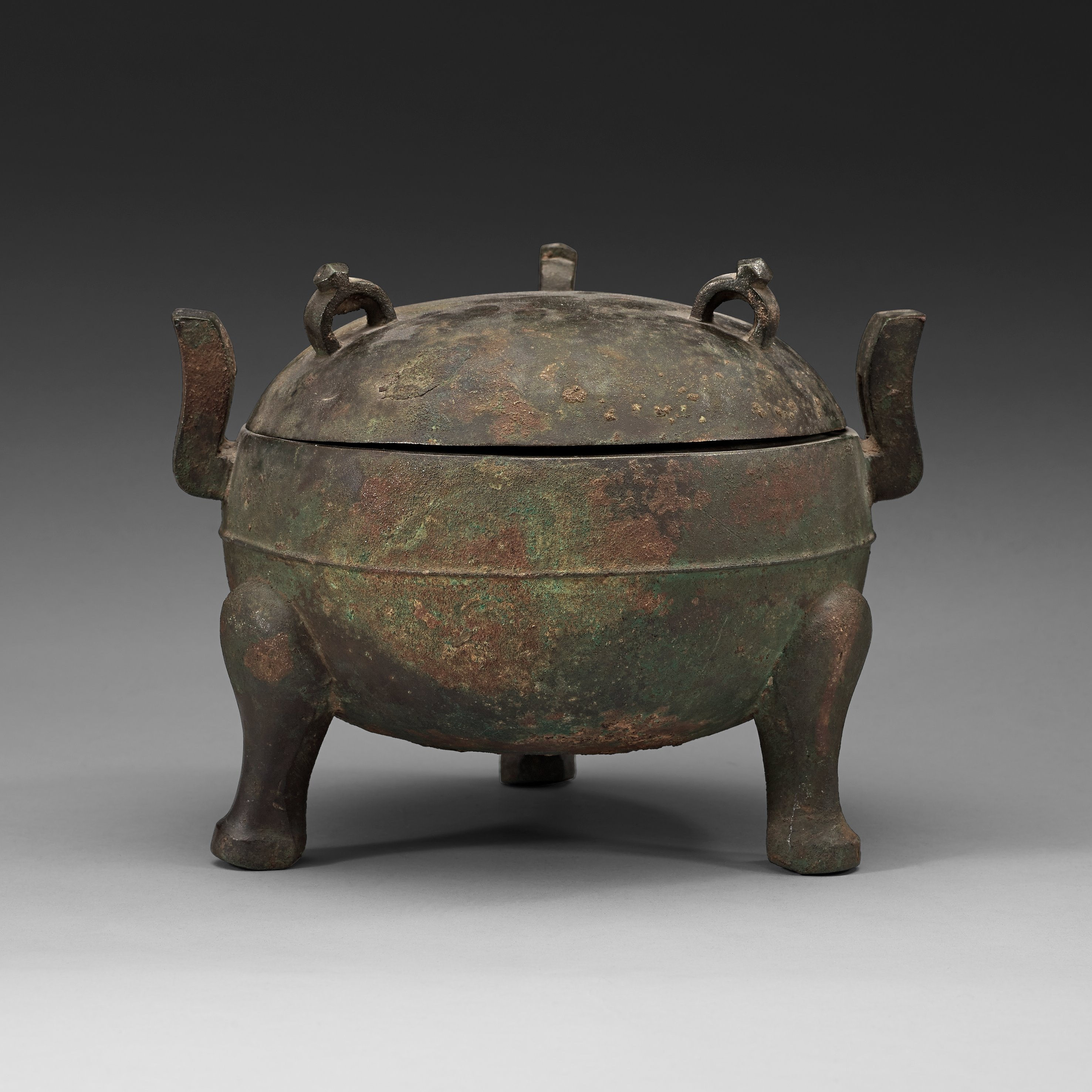 A Bronze Ding Tripod Censer With Cover Presumably Han