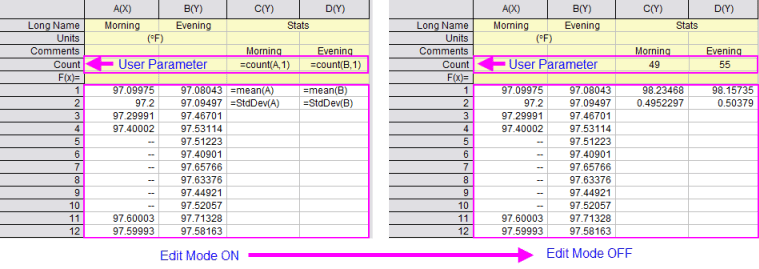 Help Online Origin Help Using A Formula To Set Cell Values