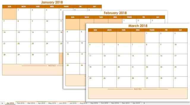Microsoft Excel Calendar Template 2018 Free Download