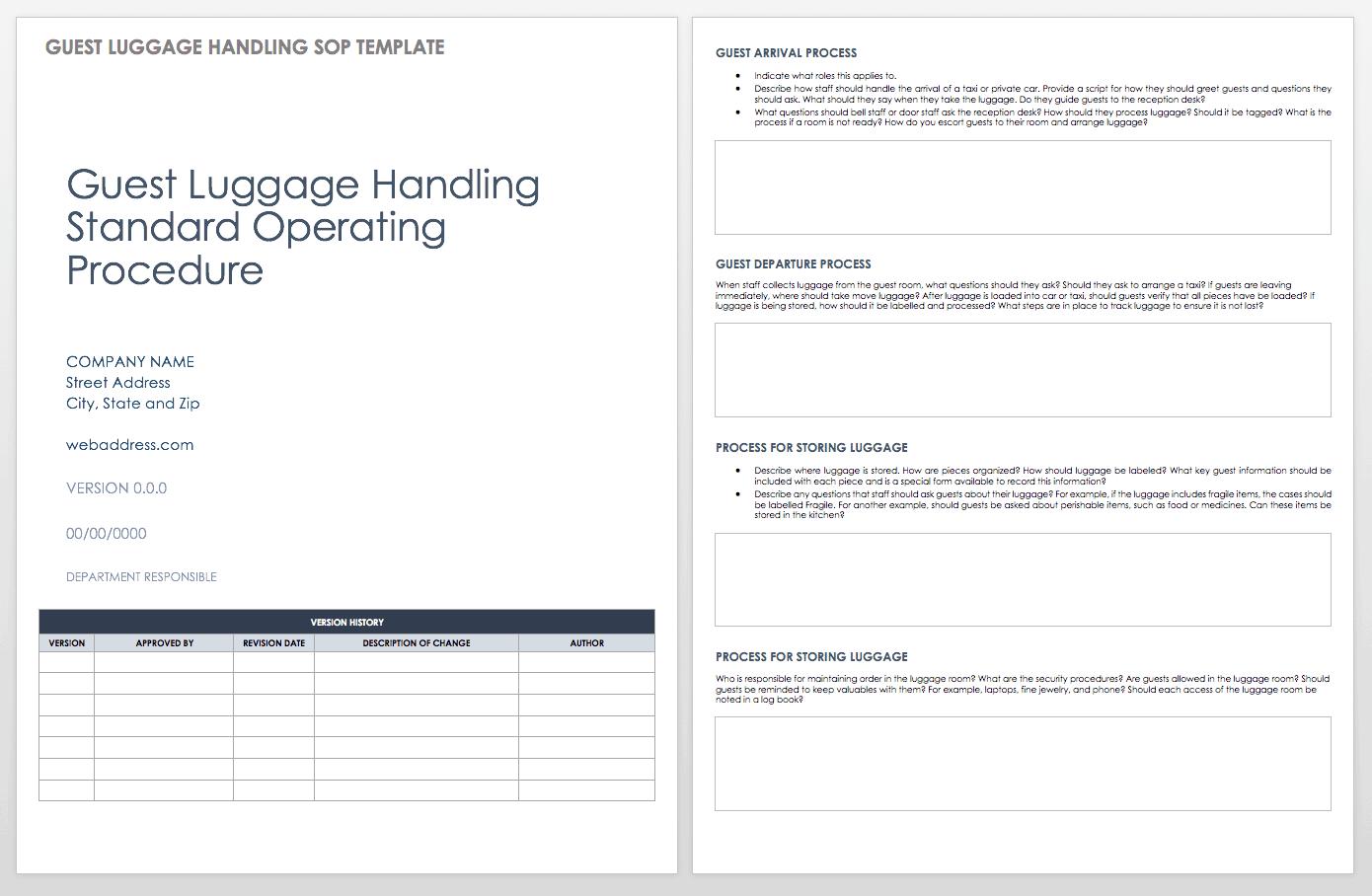 Standard Operating Procedures Templates