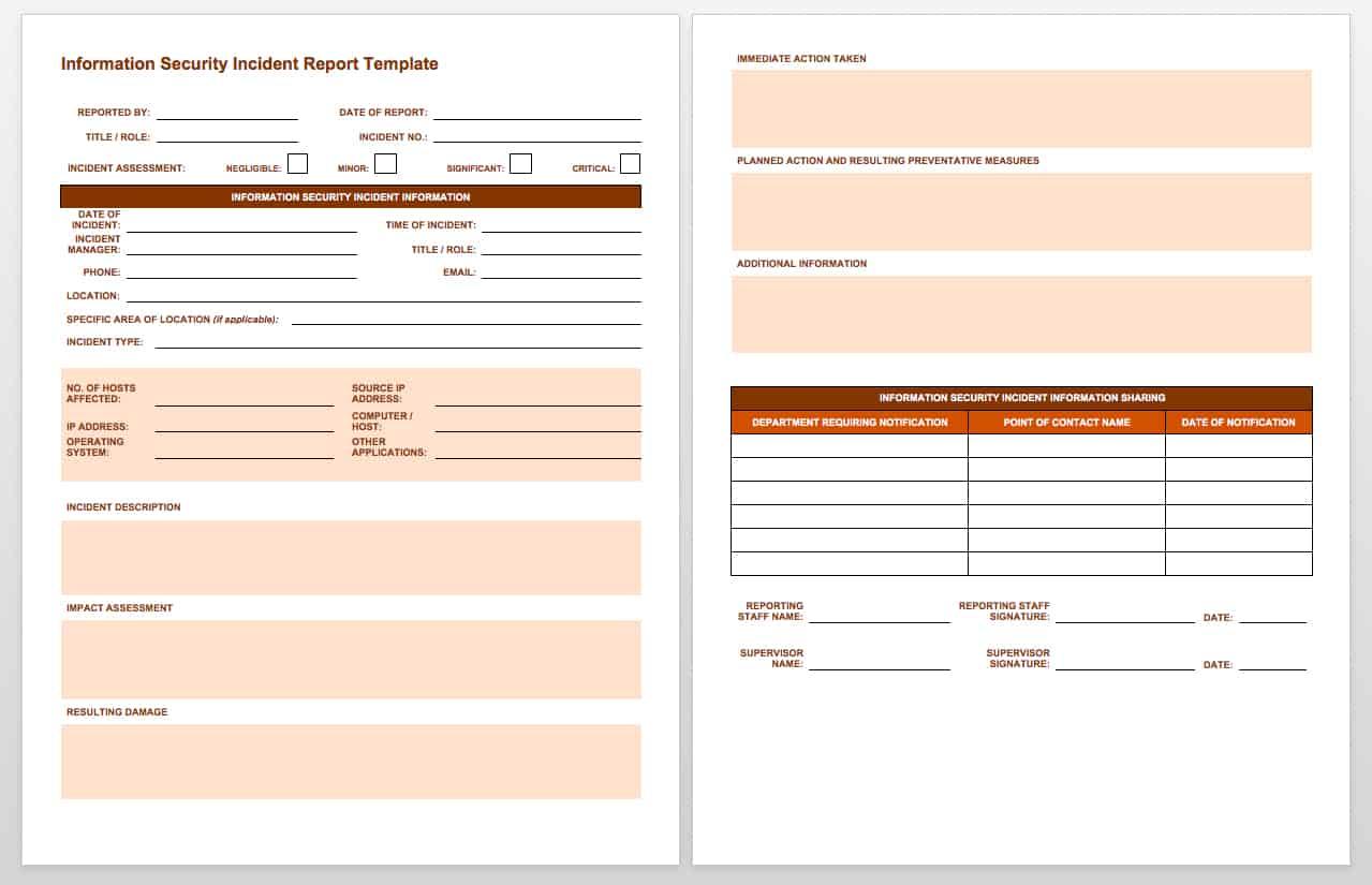 Free Incident Report Templates Smartsheet
