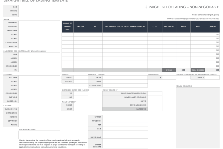 Free Bill of Lading Templates   Smartsheet Straight Bill of Lading