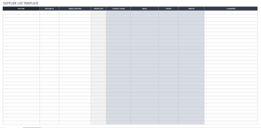 Free Bill of Material Templates   Smartsheet Supplier List  Supplier List Template
