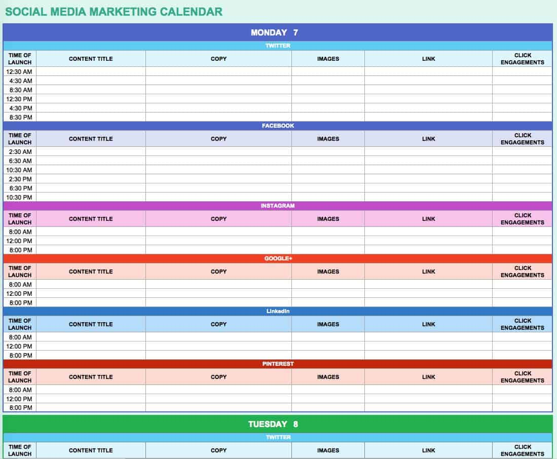 9 Free Marketing Calendar Templates For Excel
