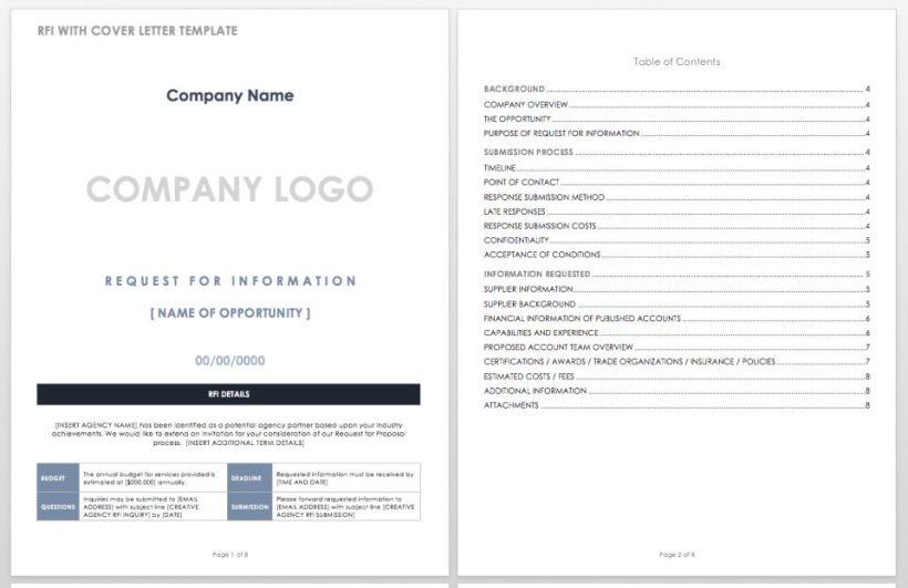 Request For Information With Cover Letter Template Word