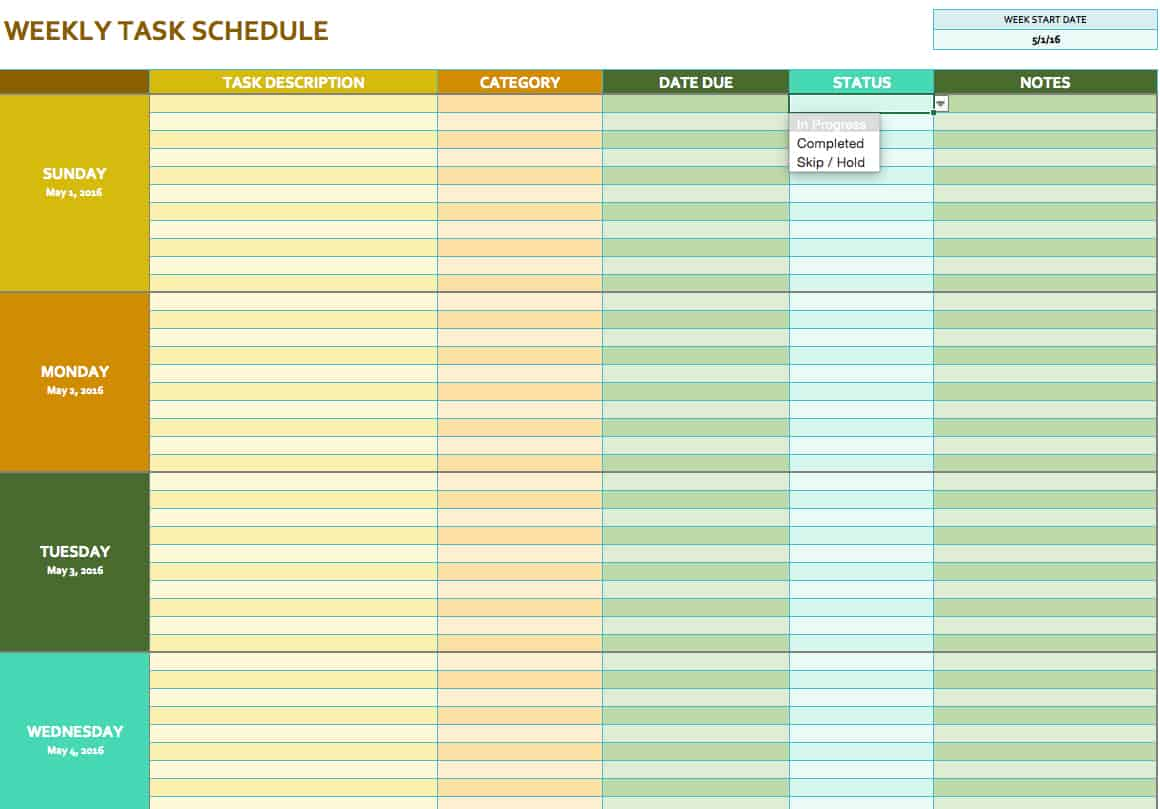 Weekly Schedule Excel Template blank work schedule template 4 – Free Weekly Schedule Template
