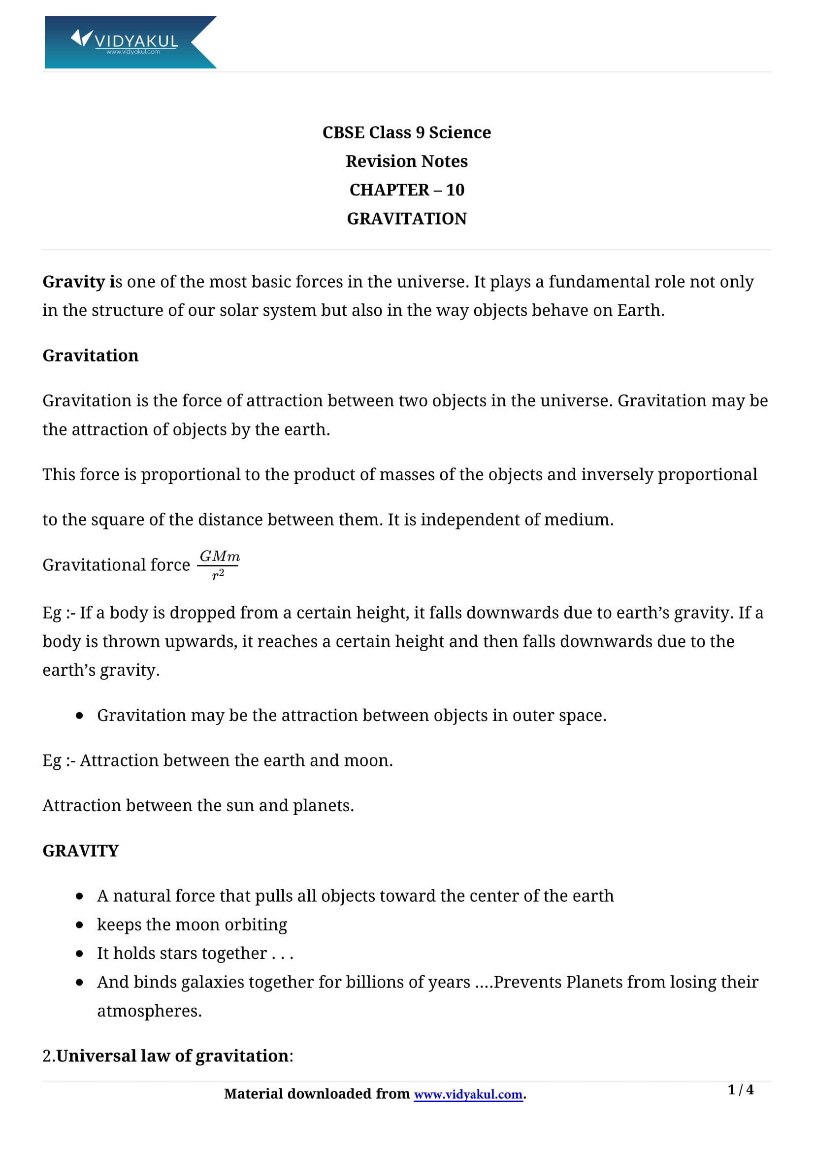Gravitation Class 9 Notes