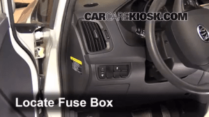 Interior Fuse Box Location: 20122012 Kia Rio5  2012 Kia Rio5 LX 16L 4 Cyl