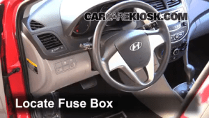 Interior Fuse Box Location: 20122017 Hyundai Accent  2013 Hyundai Accent GLS 16L 4 Cyl