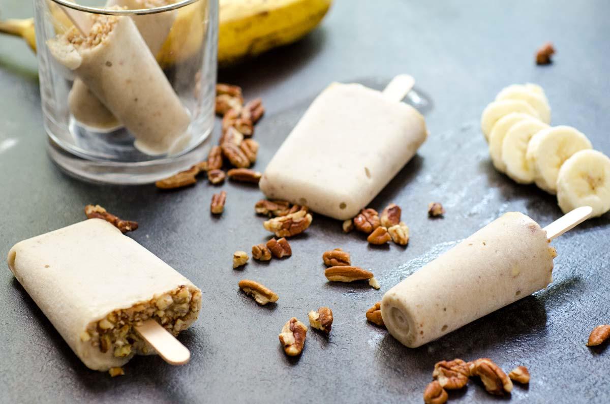 Creamy Banana Pecan Paletas