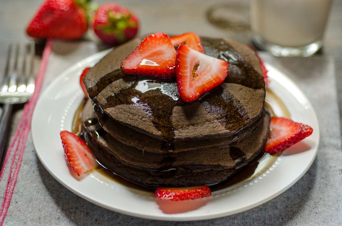 Tommy's Vegan Chocolate Strawberry Pancakes