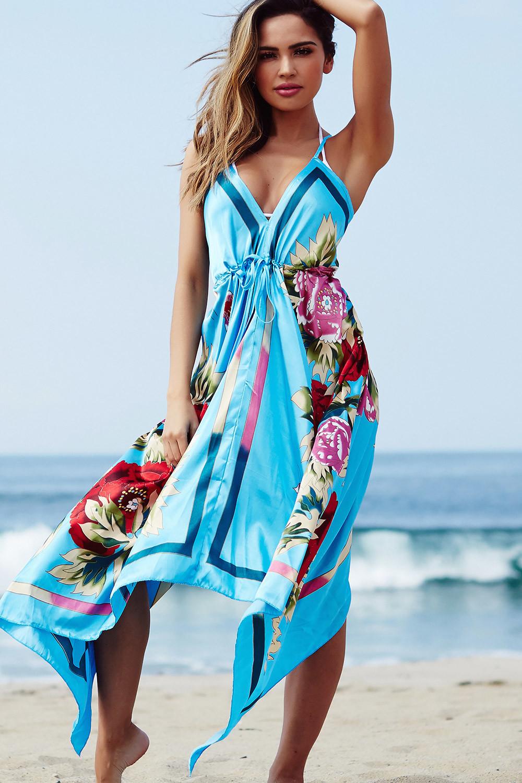 Bahama Mama Sky Blue Boho Print Beach Dress