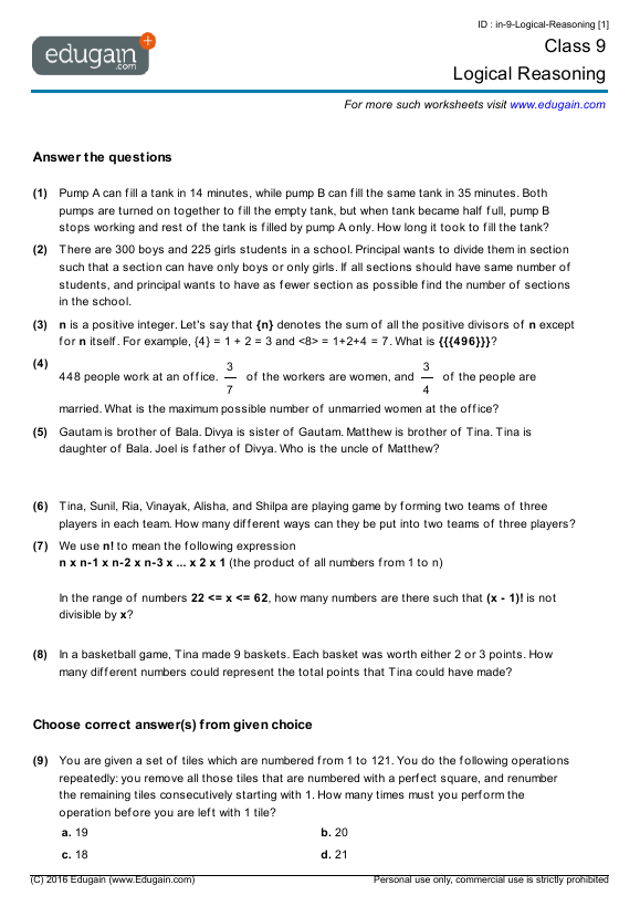 Class 9 Math Worksheets And Problems Logical Reasoning