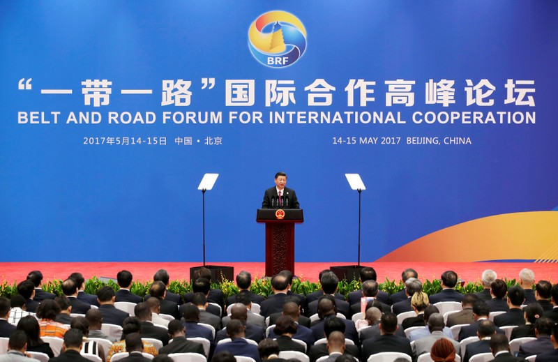 FILE PHOTO: Chinese President Xi Jinping attends a news conference at the end of the Belt and Road Forum in Beijing