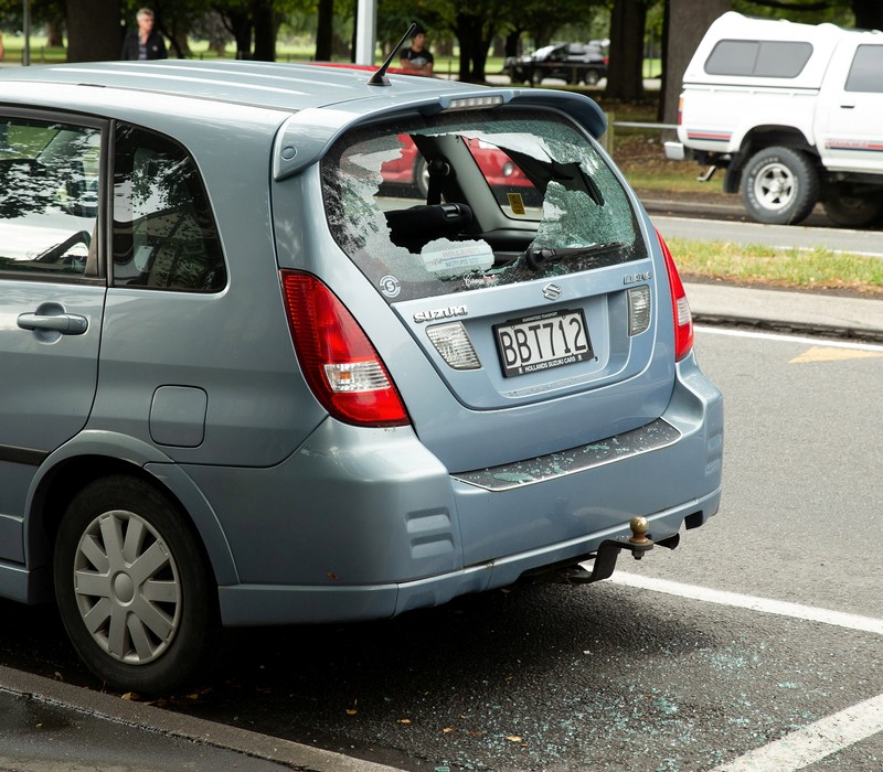 Shattered car window following a shooting at the Al Noor mosque in Christchurch