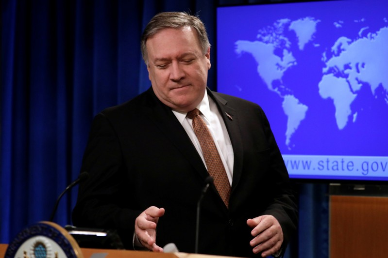 Secretary of State Mike Pompeo speaks during a news conference in Washington