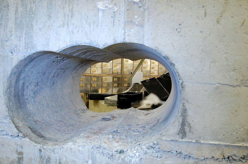 FILE PHOTO: Handout photo of the hole that robbers drilled through the concrete vault during the Hatton Garden heist in London