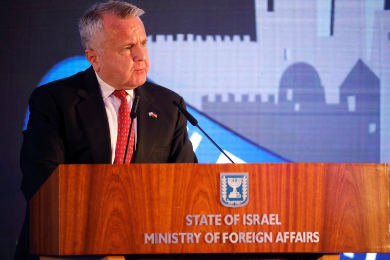 U.S. Deputy Secretary of State John Sullivan speaks during a reception held at the Israeli Ministry of Foreign Affairs in Jerusalem, ahead of the moving of the U.S. embassy to Jerusalem