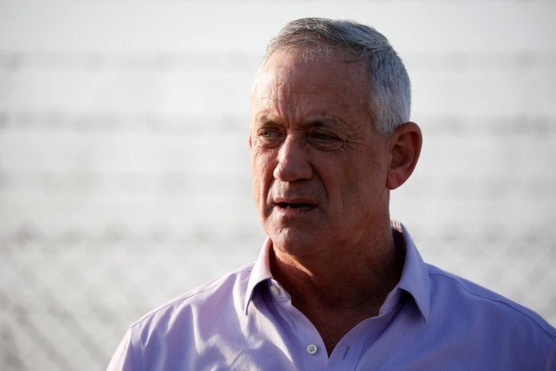 Benny Gantz, head of Blue and White party speaks to the media in Kibbutz Nir-Am