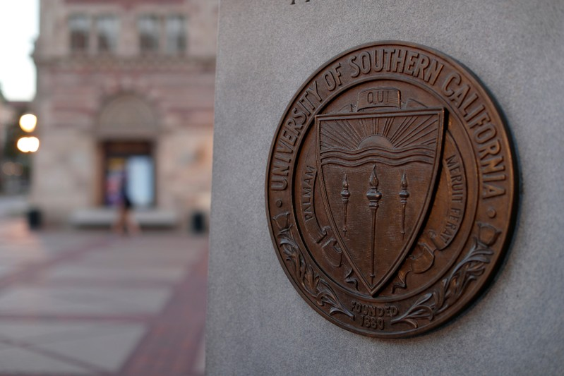 A plaque is pictured at University of Southern California in Los Angeles