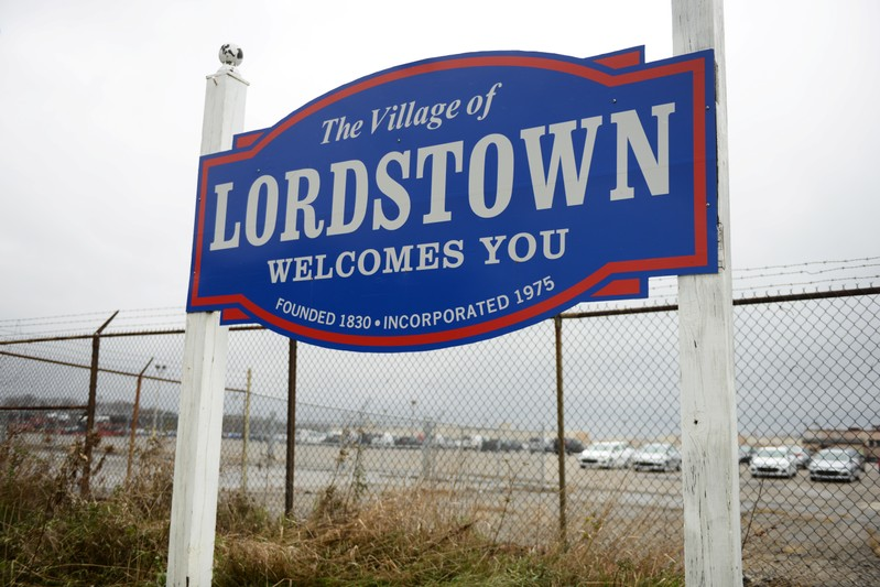 A sign welcomes visitors to the General Motors Lordstown Complex assembly plant in Warren