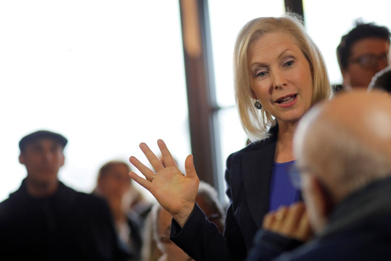 FILE PHOTO: Democratic 2020 presidential candidate Gillibrand greets customers at Revelstoke Coffee in Concord