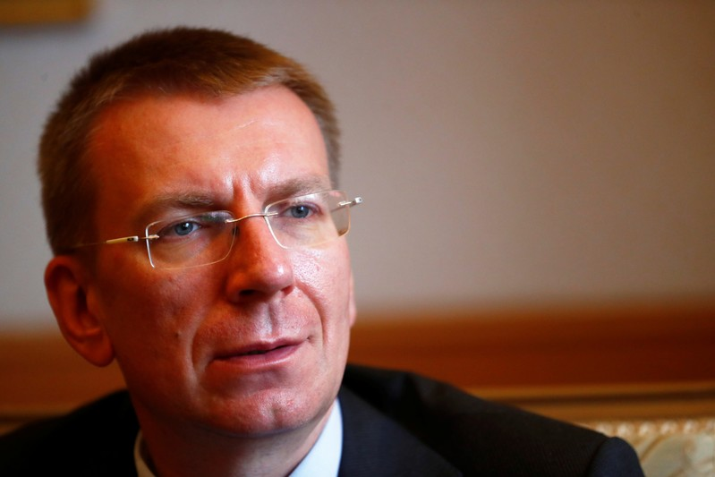 Latvia's Foreign Minister Edgars Rinkevics speaks during an interview in Riga