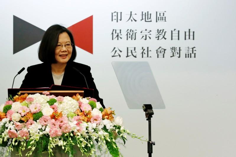 Taiwan President Tsai Ing-wen speaks during