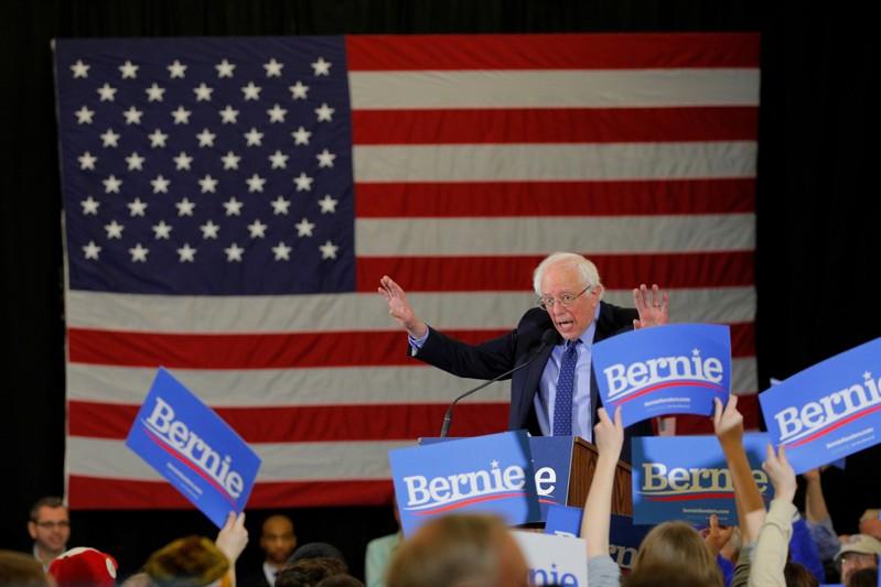 FILE PHOTO: Democratic 2020 U.S. presidential candidate Sanders speaks in Concord