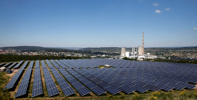 A general view shows solar panels to produce renewable energy at the Urbasolar photovoltaic park in Gardanne