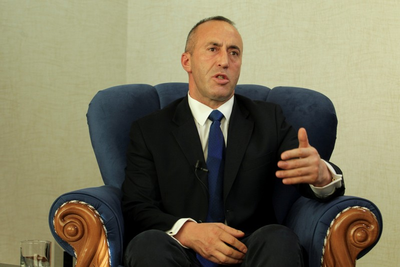 FILE PHOTO: Kosovo's Prime Minister Haradinaj talks during an interview withe Reuters in Pristina