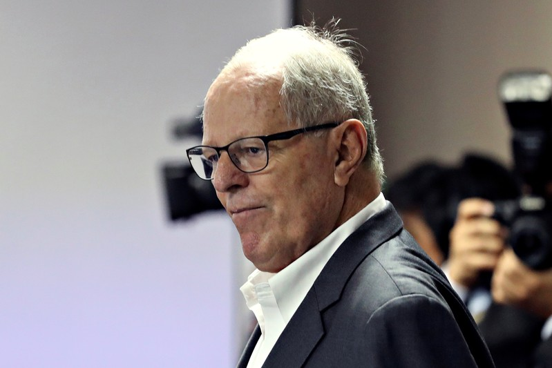 FILE PHOTO: Peru's former President Pedro Pablo Kuczynski is seen at a court, after his arrest as part of an investigation into money laundering, in Lima