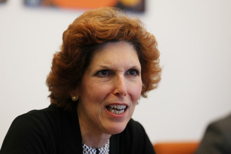 FILE PHOTO: Loretta Mester, president of the Federal Reserve Bank of Cleveland, speaks during an interview in Manhattan, New York