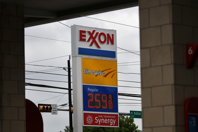An Exxon gas station is seen in Houston