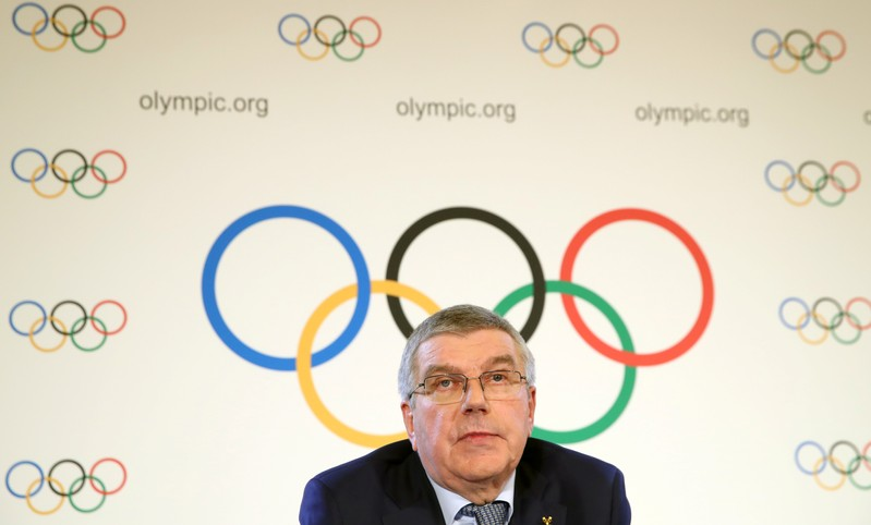 Bach President of the IOC attends a news conference after an Executive Board meeting in Lausanne