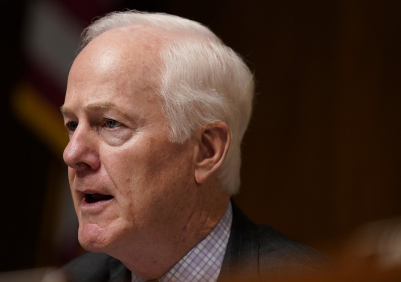 FILE PHOTO: U.S. Senator Cornyn questions Attorney General Barr at Senate Judiciary hearing on investigation of Russian interference in the 2016 presidential election on Capitol Hill in Washington